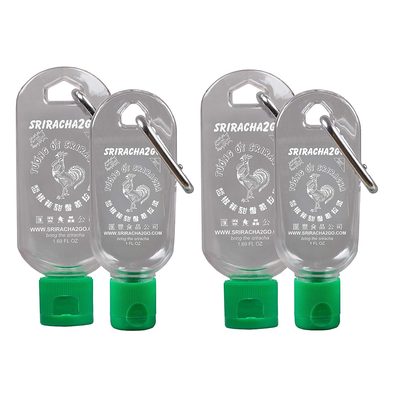 Sriracha Keychain 4-Pack (2-1oz Keychains and 2-1.7oz Keychains, Sold Empty)