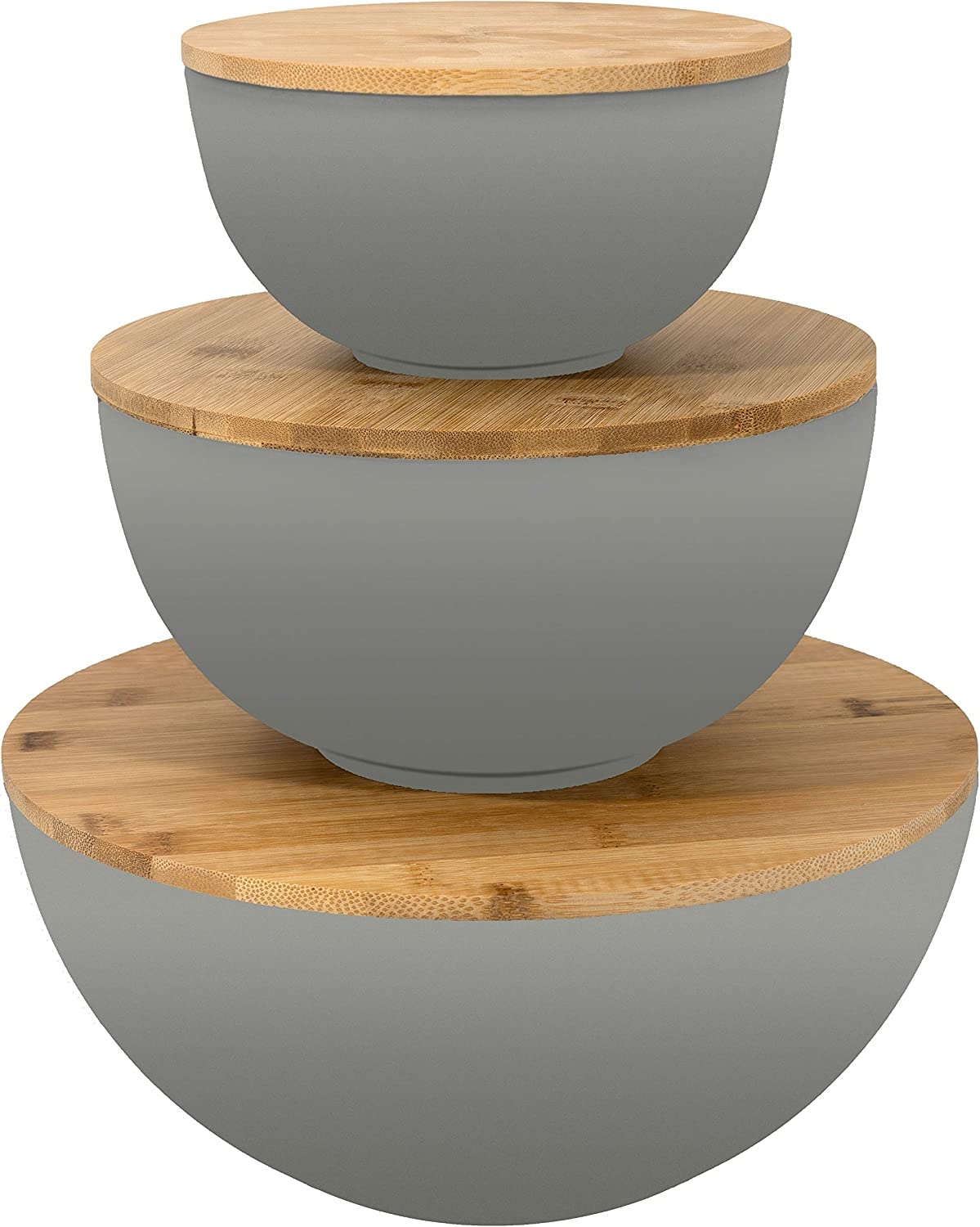 Salad Bowl with Lid - Large Salad Bowl Set of 3 with Wooden Lids, Bamboo Fibre like Melamine Mixing Bowl & Storage Set for Serving Salad, Wooden Lids also use as Cutting Boards & Wooden Food Platter
