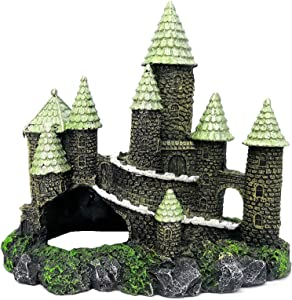 M2cbridge Aquarium Decor Castle Fish Tank Decoration Stands Egyptian Pyramid Rockery Hiding Cave Tree House Hideout