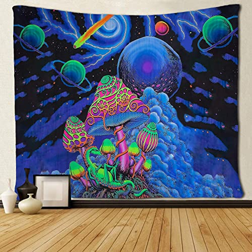 SARA NELL Psychedelic Tapestry Trippy Tapestry Mushroom Tapestry Nebula Galaxy Meteor Planets Tapestry Lightning Starry Sky Wall Hanging Hippie Art 60×90 Inches Dorm Room Bedroom Decor Van Gogh Blue