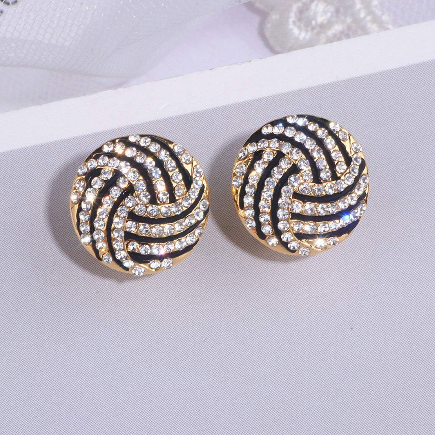 Trendy Element Gold Color Round Stud Earrings for Women Shining Full Crystal Circle Earrings Wedding Jewelry