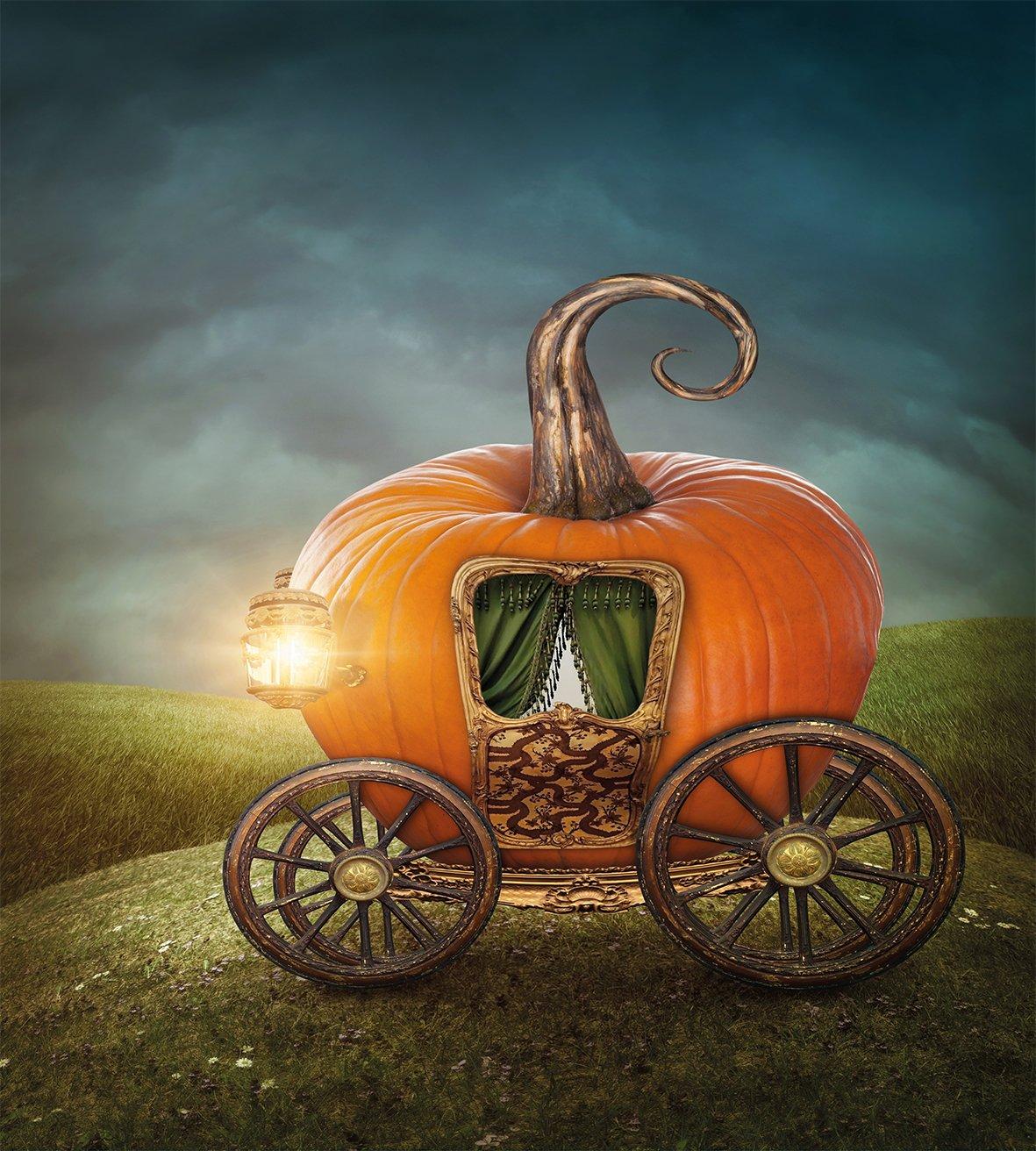 Calabaza de edredón por lunarable, mítico calabaza carruaje con ruedas de madera y cortinas Fairytale inspirado arte, decorativo juego de cama con fundas de ...