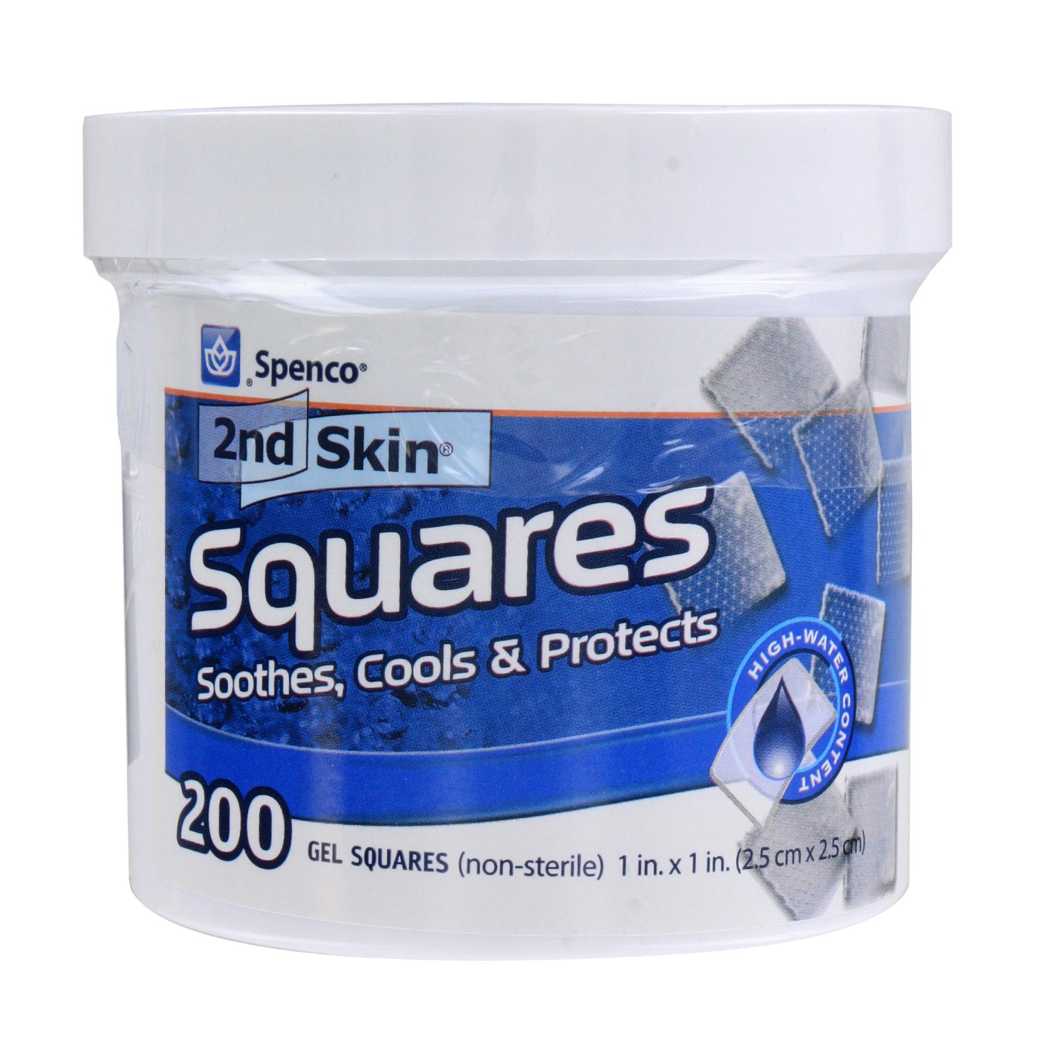 Spenco 2nd Skin Squares Soothing Protection for Blisters, Hot Spots and Skin Irritations, Gel Squares 200-Count