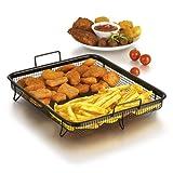 GOURMETmaxx Backofen (Edelstahl-Grillkorb für fettarmes Heißluft-Garen im Ofen (Eckig 33x28x5cm), Aluminum