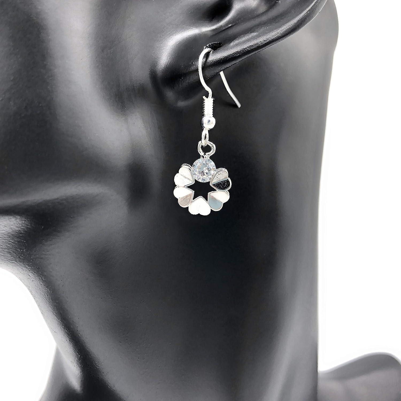 Ohrringe DIAMOND FLOWER versilbert h/ängend Zirkonia Blume handmade einzigartig rund Damen M/ädchen Schmuck Design filigran Muster Jugendstil