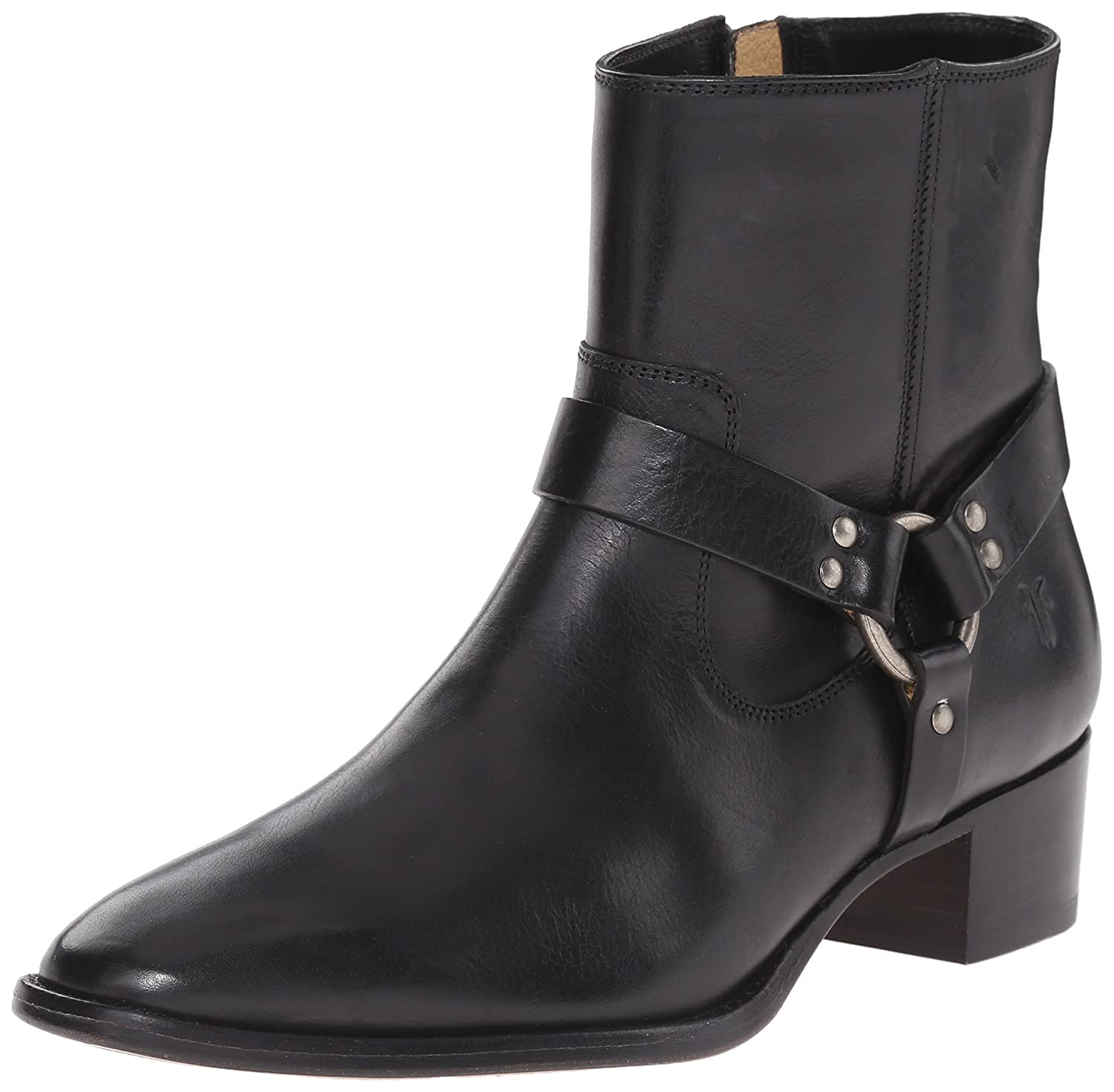 FRYE Women's Dara Short Harness Boot B00ZUYIX4G 5.5 B(M) US|Black Smooth Polished Veg Leather