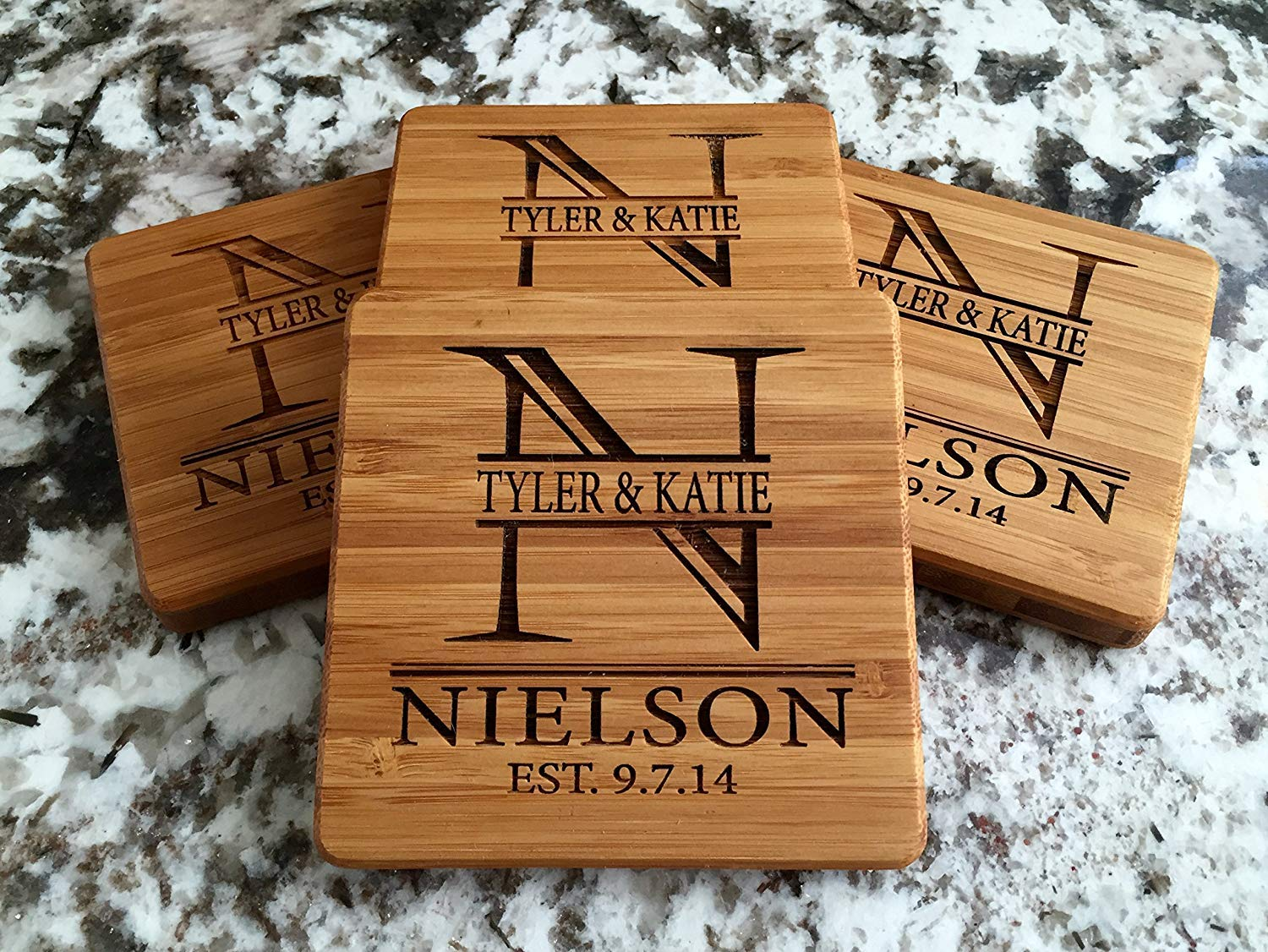 Personalized Wedding Gifts and Bridal Shower Gifts - Monogram Wood Coasters for Drinks (Set of 4, Nielson Design)