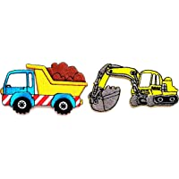 Nipitshop Patches Set of 2 Pcs Car Toy Cartoon Kid Patch Yellow Backhoe and Heavy Truck Dump Truck DIY Applique…