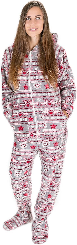 Kajamaz Sueño De Navidad Pijama con Pies para Adultos, Pijama Entero con Pies para Adutos y Niños con Estampados Navideños De Estilo Nórdico con Corazones, Renos y Copos De Nievel
