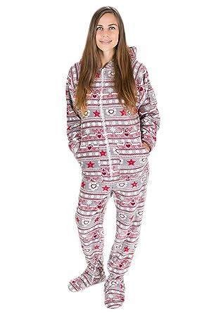 667c52027d Kajamaz Weihnachtstraum Schlafanzug für Erwachsene mit Füßlingen,  Einteiliger Unisex-Schlafoverall mit Füßlingen für Erwachsene