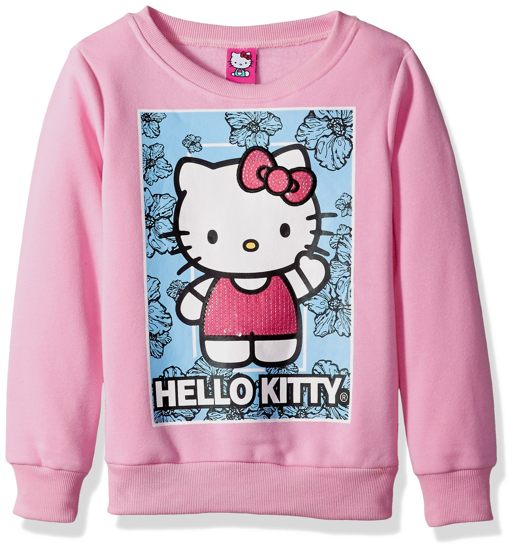 Hello Kitty Big Girls' Sweatshirt with Sequins and Lace Details, Pink, 8