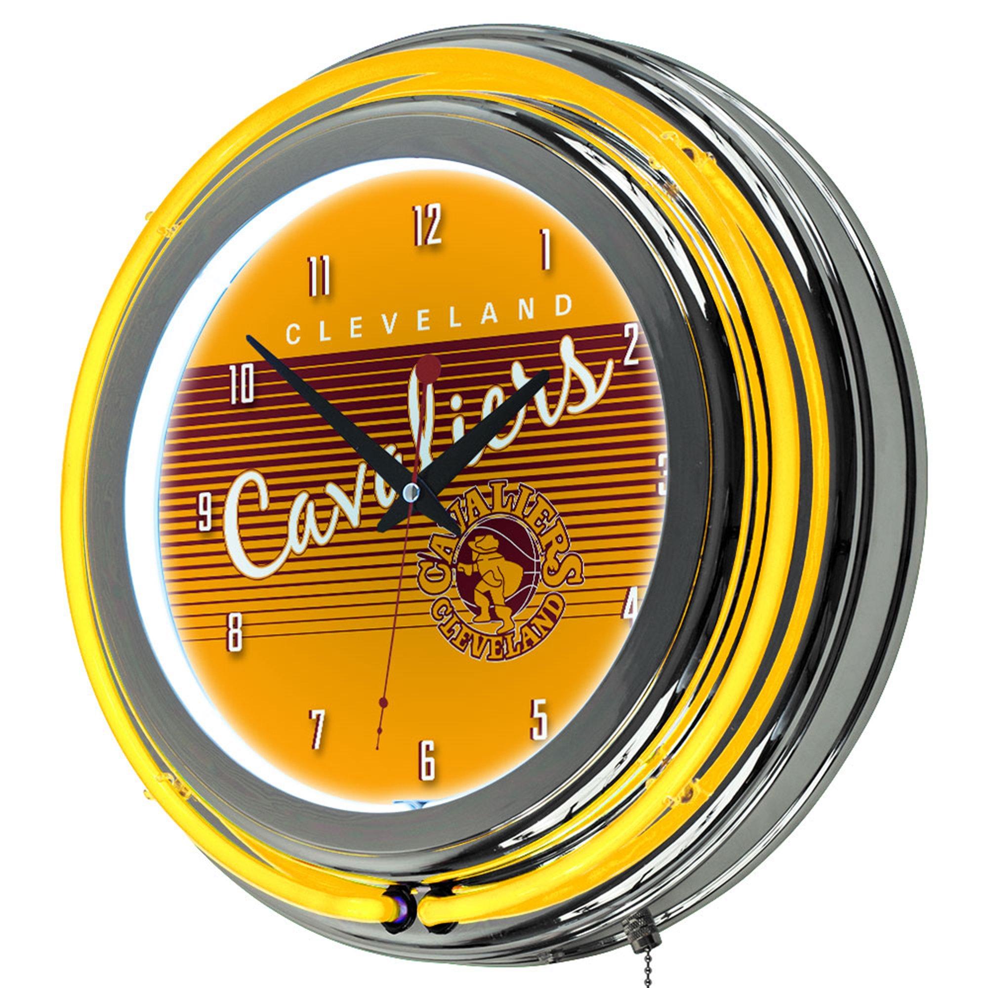NBA Cleveland Cavaliers Chrome Neon Clock, One Size, Chrome