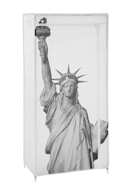 ARCHIMEDE 991472 Guardaroba, Acciaio e Tessuto Non Tessuto, Fantasia New York, 72 x 43 x 150 cm Serena Group