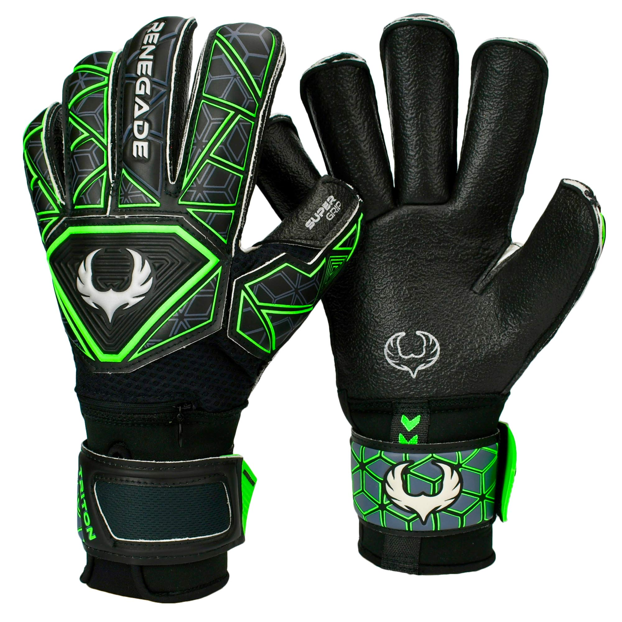 Renegade GK Triton Raider Level 2 Roll Cut Goalkeeper Gloves Youth with Fingersaves - Goalkeeper Gloves Size 5 - Soccer Goalie Gloves Kids - Goalkeeper Gloves for Kids - Black & Green