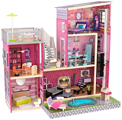 Amazon Com Kidkraft Girl S Uptown Dollhouse With Furniture Toys
