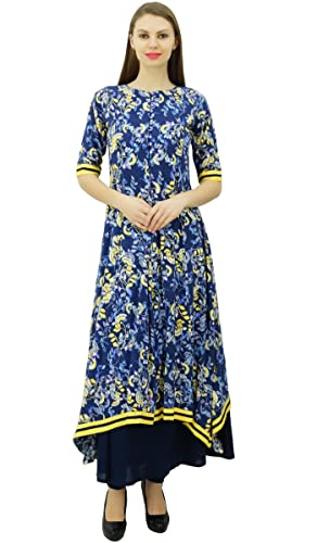 Phagun Impreso Floral Rayón diseñador Vestido de la Túnica ethinc Damas Kurti