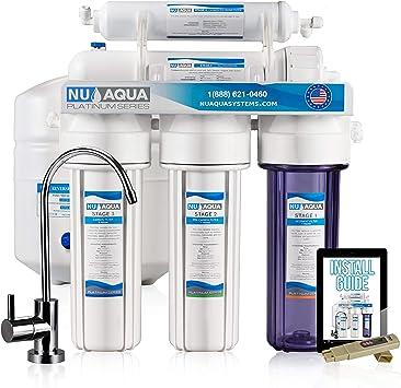 Nos Aqua Platinum Series – Alta capacidad 5-Stage bajo fregadero de 100 GPD Ultimate de ósmosis inversa purificador de agua potable sistema de filtro – Bono ppm ...