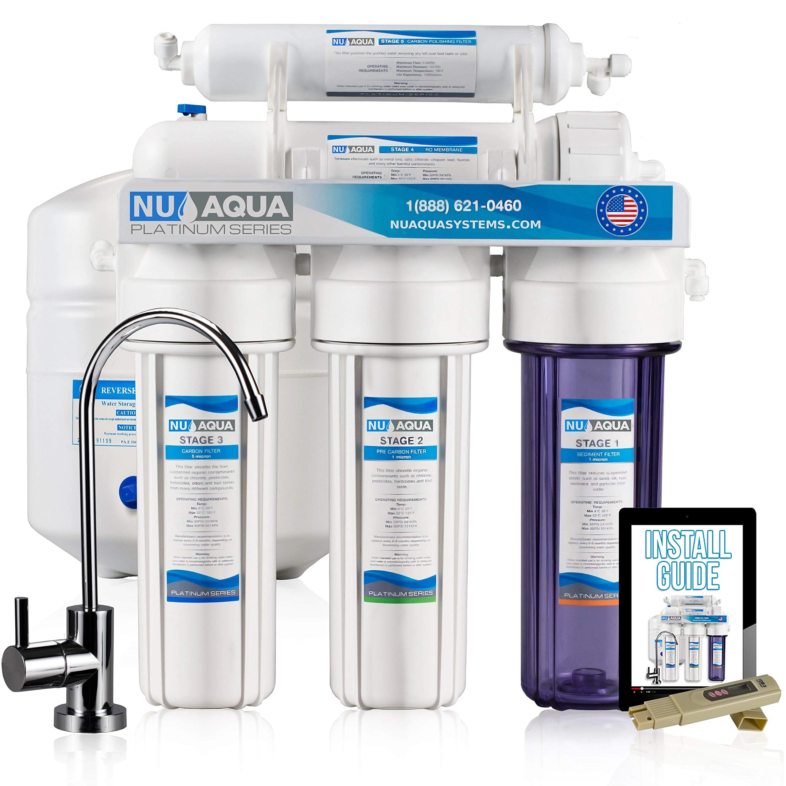 NU Aqua Platinum Series Deluxe High Capacity 100GPD 5-Stage Under Sink Reverse Osmosis Ultimate Purifier Drinking Water Filter System - Bonus PPM Meter and Installation DVD by NU Aqua