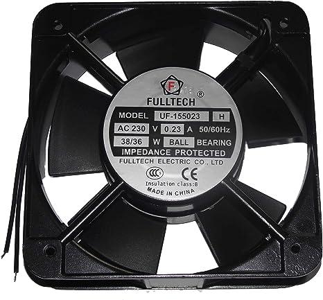 zyvpee UF-155023 UF-155023 - Ventilador Cuadrado de Hierro (150 x 150 x 50 mm, 230 V, 0,23 A, 38/36 W, 2 Cables, 15 cm): Amazon.es: Electrónica