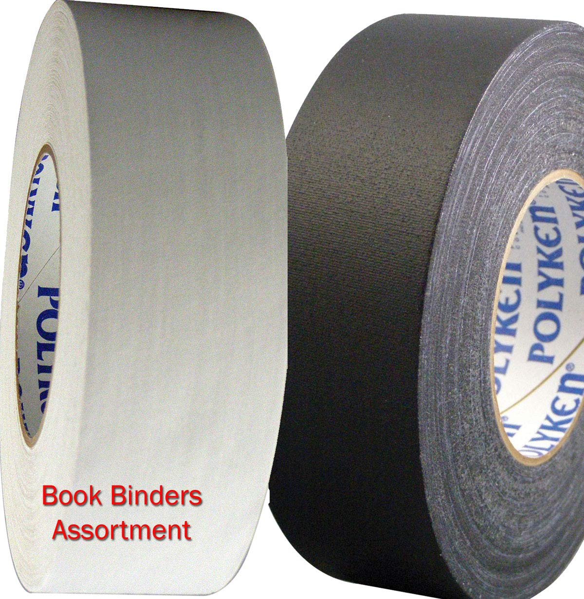 Seforim and Book Binding Specials - Polyken 4 Rolls Total of Black and White 2-inch Wide Book Binding Tape by Polyken