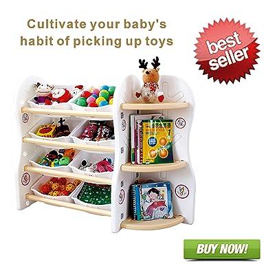 Gupamiga Organizador de Almacenamiento de Juguetes para niños colección Rack de los niños Deluxe estantería de plástico y Cesta Marco Sundries con 8 Cubos organizadores de Juguetes(8binsA+C): Hogar