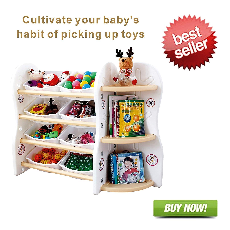 Gupamiga Toy organizer portaoggetti per bambini collezione rack di bambini Deluxe cornice Bookshelf e cestino di plastica Sundries con 8cestini Toy organizer Bins (a + B), 8binsAC Joren