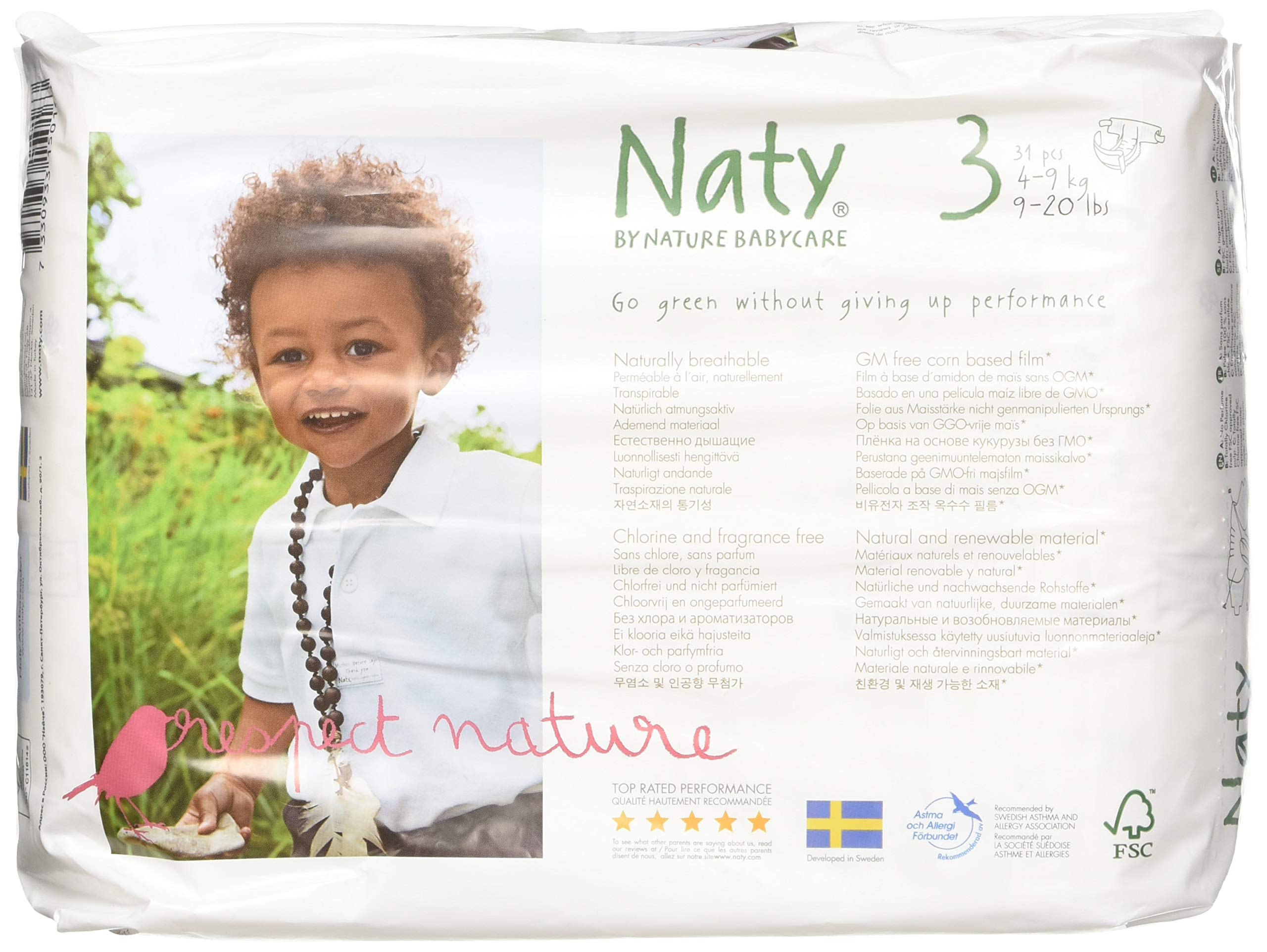 Naty by Nature Babycare Eco-Friendly Premium Disposable Diapers for Sensitive Skin, Size 3