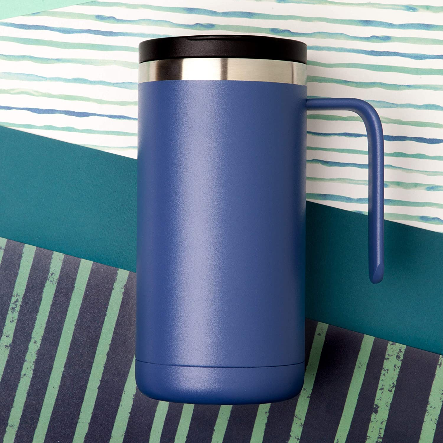 Iconiq Stainless Steel Vacuum Insulated Tumbler Mug With Built In Handle And Splash Proof Lid 20 Ounce Dusk Blue Travel To Go Drinkware Kolenik Travel Mugs Tumblers
