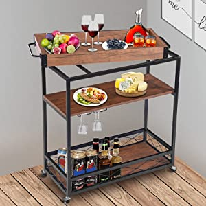 Houssem Bar Serving Cart with 3 Tier Storage Shelves Bar Cart for Home Mobile Metal Wood Wine Cart on Wheels with Handle Rack, Glass Holder, Removable Top Tray