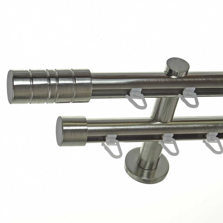 BASIT Innenlauf Gardinenstange Edelstahl Look 20mm Wandträger 2-läufig Zylinder, Länge wählbar H40 E34E30, Länge 540 cm