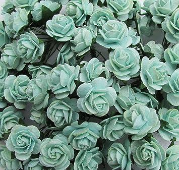 Amazon 50 pcs mini rose 20 mm mint green mulberry paper flowers 50 pcs mini rose 20 mm mint green mulberry paper flowers handmade craft project cardmaking floral mightylinksfo