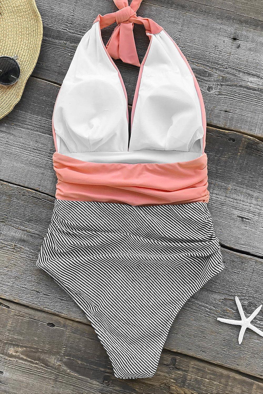 CUPSHE Damen Badeanzug Neckholder V-Ausschnitt Raffung Bauchweg Einteilige Bademode Swimsuit