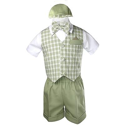 Unotux 5pc Baby Boy Eton Formal Sage Green Short Vest Set Suit S-4T