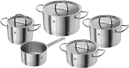 Oferta amazon: Zwilling Prime - Batería de cocina de 5 piezas, Acero Inoxidable, Tapas de Cristal, Apta para Todo Tipo de Cocinas