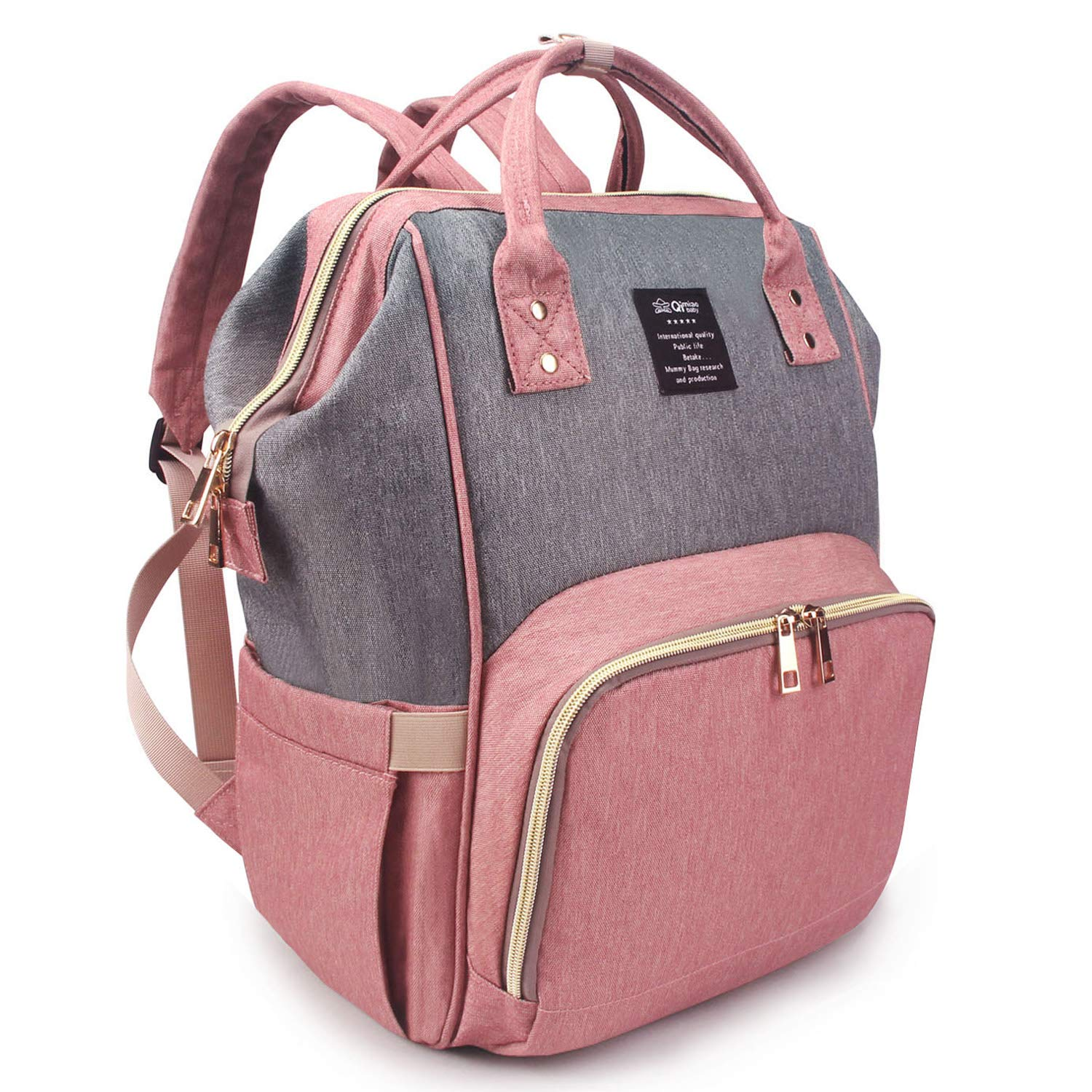 Qimiaobaby Diaper Bag Backpack, baby Nappy storage travel bag (Pink Gray) by QIMIAOBABY
