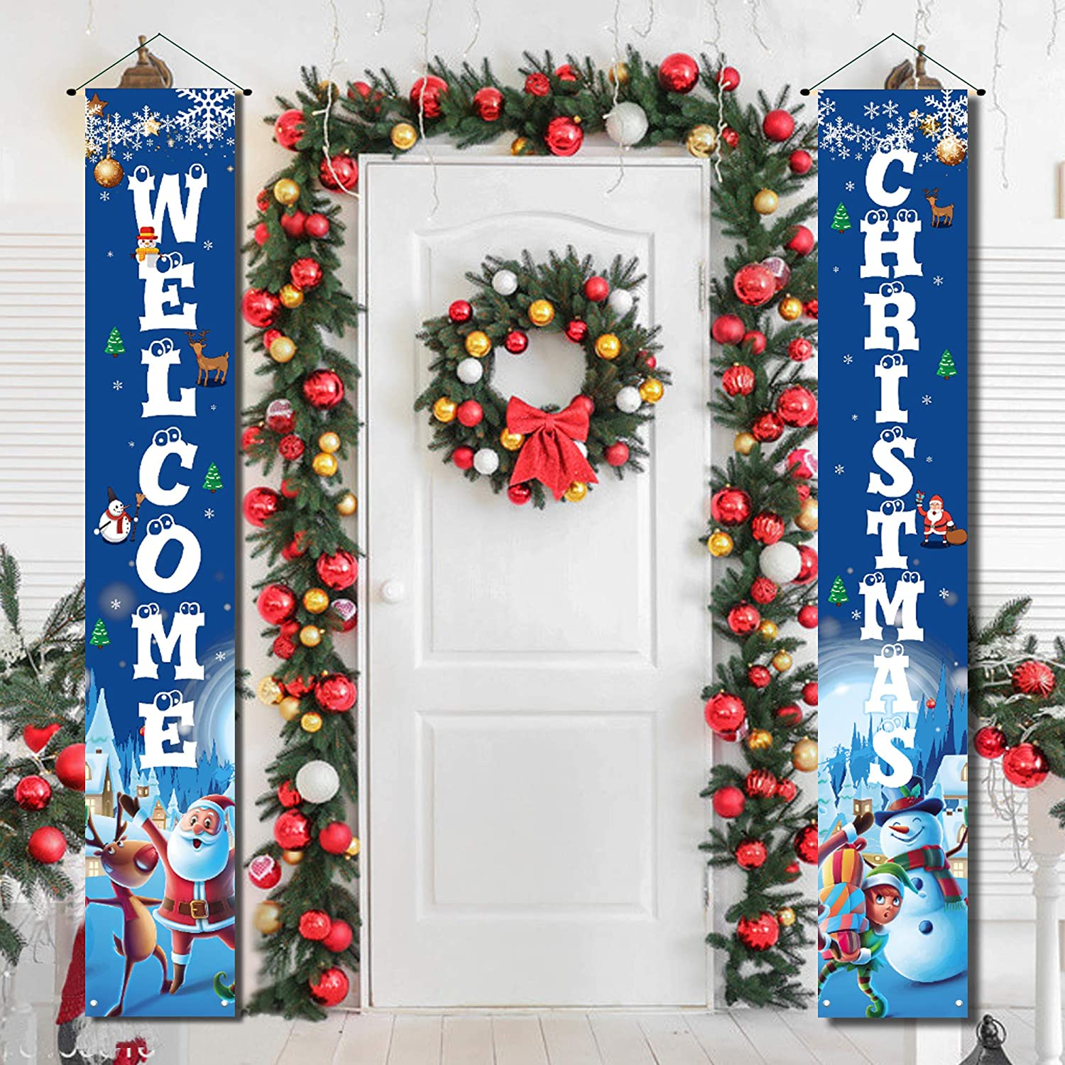 Christmas Porch Decorations for Home Merry Christmas Banner,Christmas Door Decorations Outdoor Blue Christmas Decoration Flags,Porch Welcome Christmas Signs for Front Door Hanging Decorations