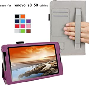 For Lenovo Tab S8-50 8-inch Tablet Good QUALITY PU LEATHER FOLIO PROTECTIVE SMART CASE, COVER, Multi-Angle Stand Slim-Book with MICROFIBER INNER, STYLUS SLOT, Hand Strap and Credit Cards / ID Holders! PURPLE.