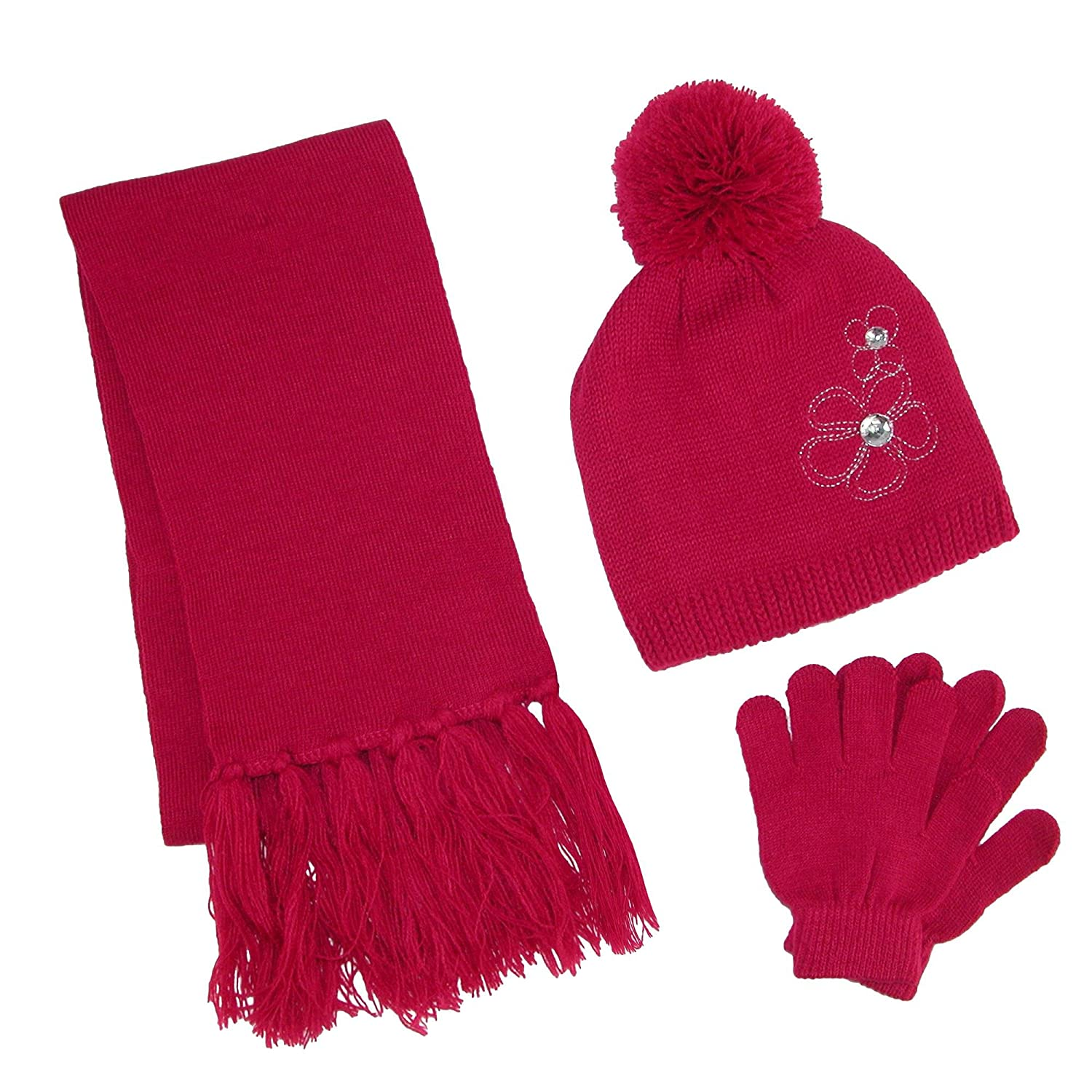 ClimaZer0 Girl's Flower Beanie Hat and Scarf Winter Set, Dark Pink