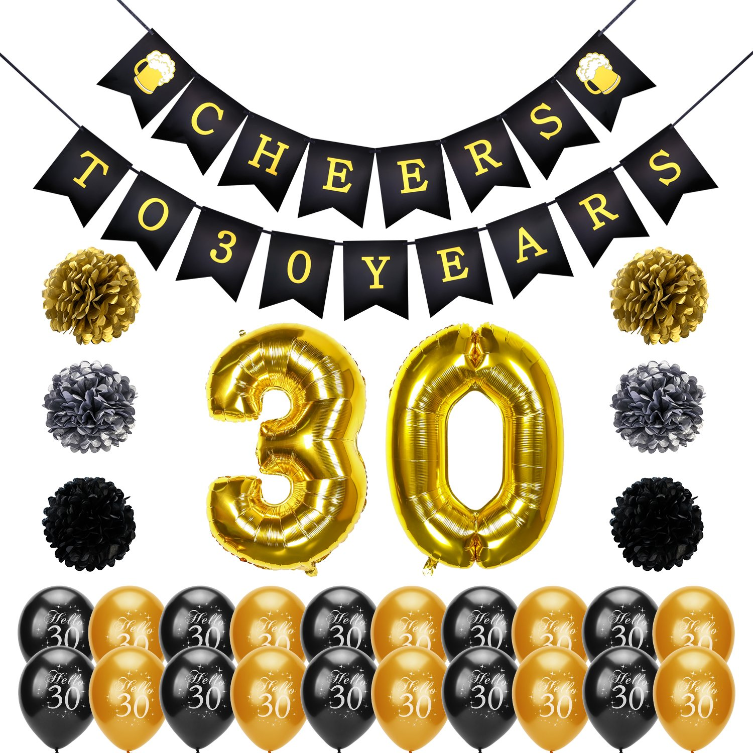 CDM product 30th Birthday decoration, Konsait Cheers to 30 Birthday Banner, Number 30 Foil Balloons Large, Hello 30 Birthday Balloons, Black and Gold, Tissue Paper Pom Poms for 30 Years Old Party Favors Supplies big image