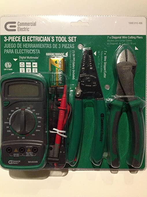 3 Piece Electricians Tool Set, AC DC Current, Resistance, Diode, DMM Digital Multimeter, 7