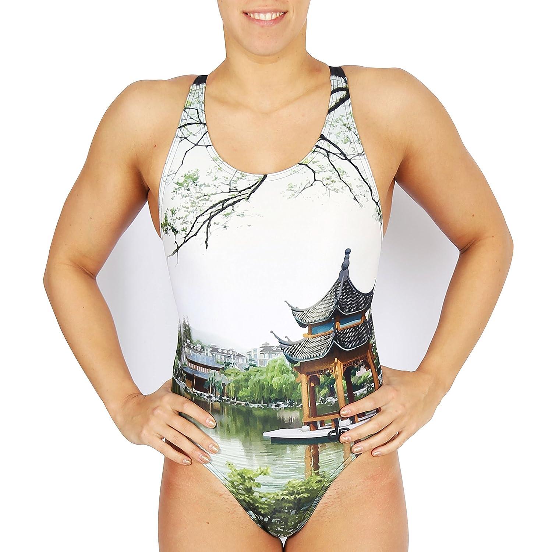 Diapolo Pagoda 3D Badeanzug aus der History Kollektion für Schwimmen Synchronschwimmen Wasserball Triathlon