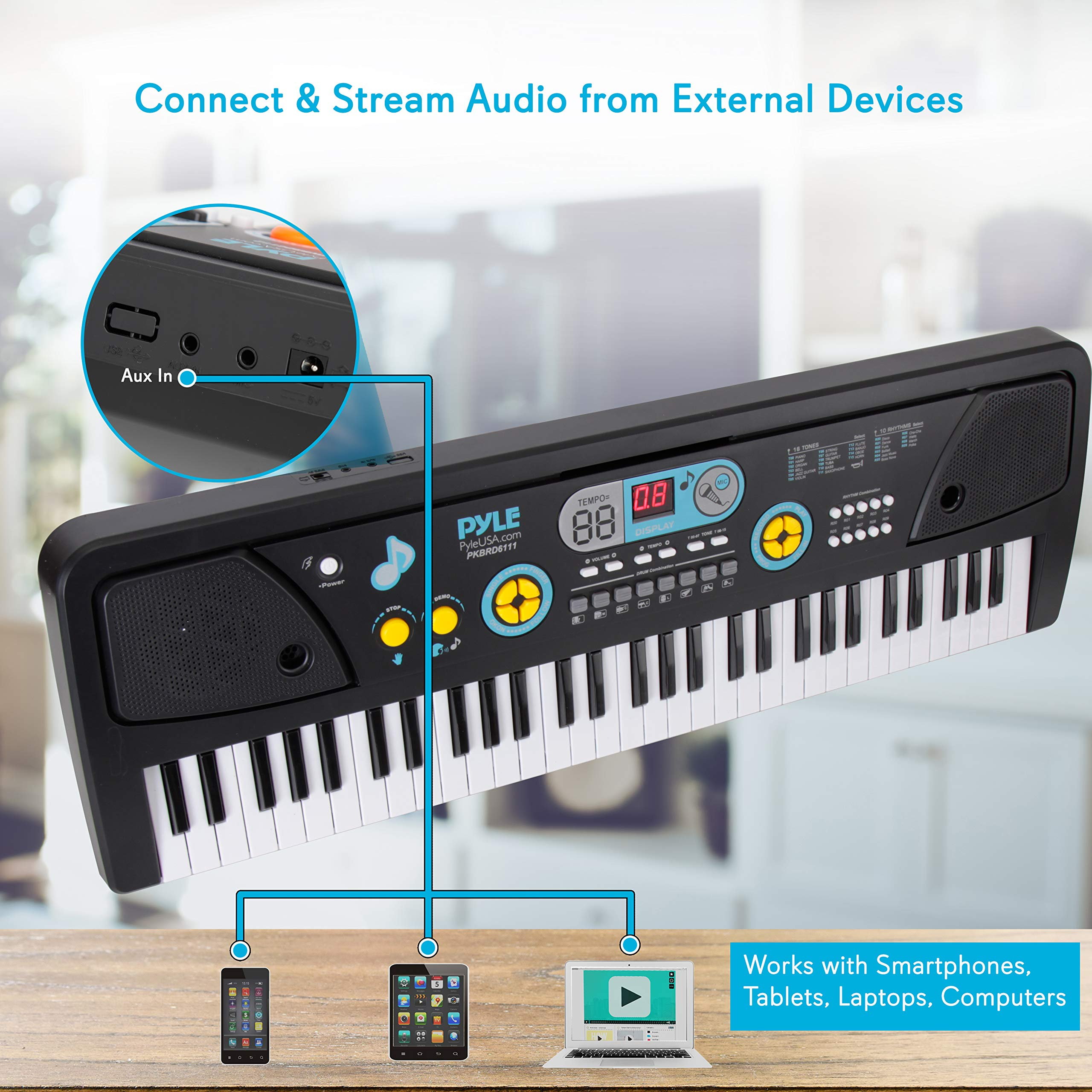Digital Piano Kids Keyboard - Portable 61 Key Piano Keyboard, Learning Keyboard for Beginners w/ Drum Pad, Recording, Microphone, Music Sheet Stand, Built-in Speaker - Pyle by Directly Cheap (Image #3)