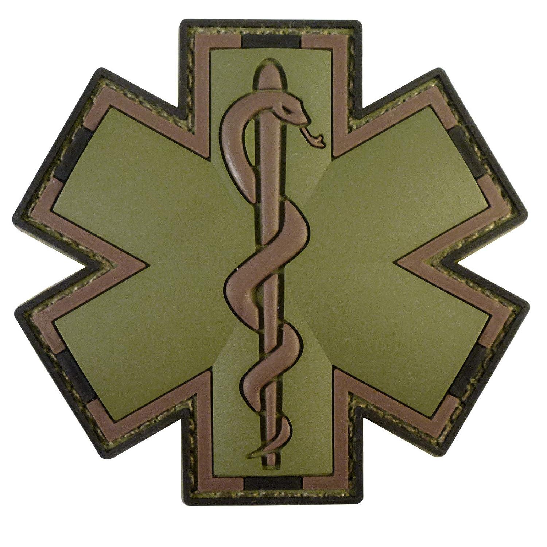 Olive Drab Multicam OD EMS EMT Medic Paramedic Star of Life Morale PVC Touch Fastener Patch 2AFTER1 P.1770.5.V