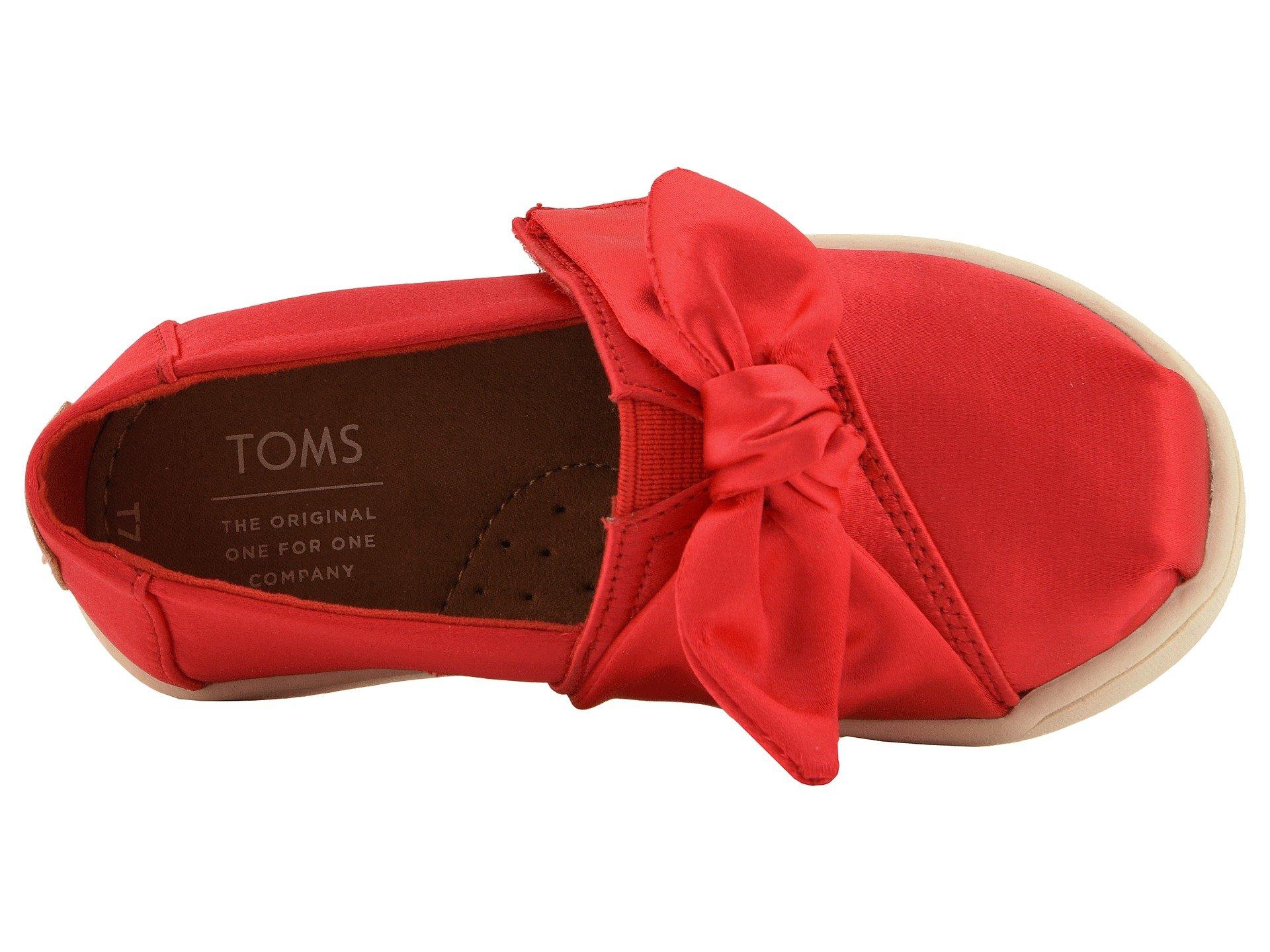 TOMS Kids Baby Girl's Alpargata (4 M US Toddler, Lava Satin/Bow) by TOMS Kids (Image #9)