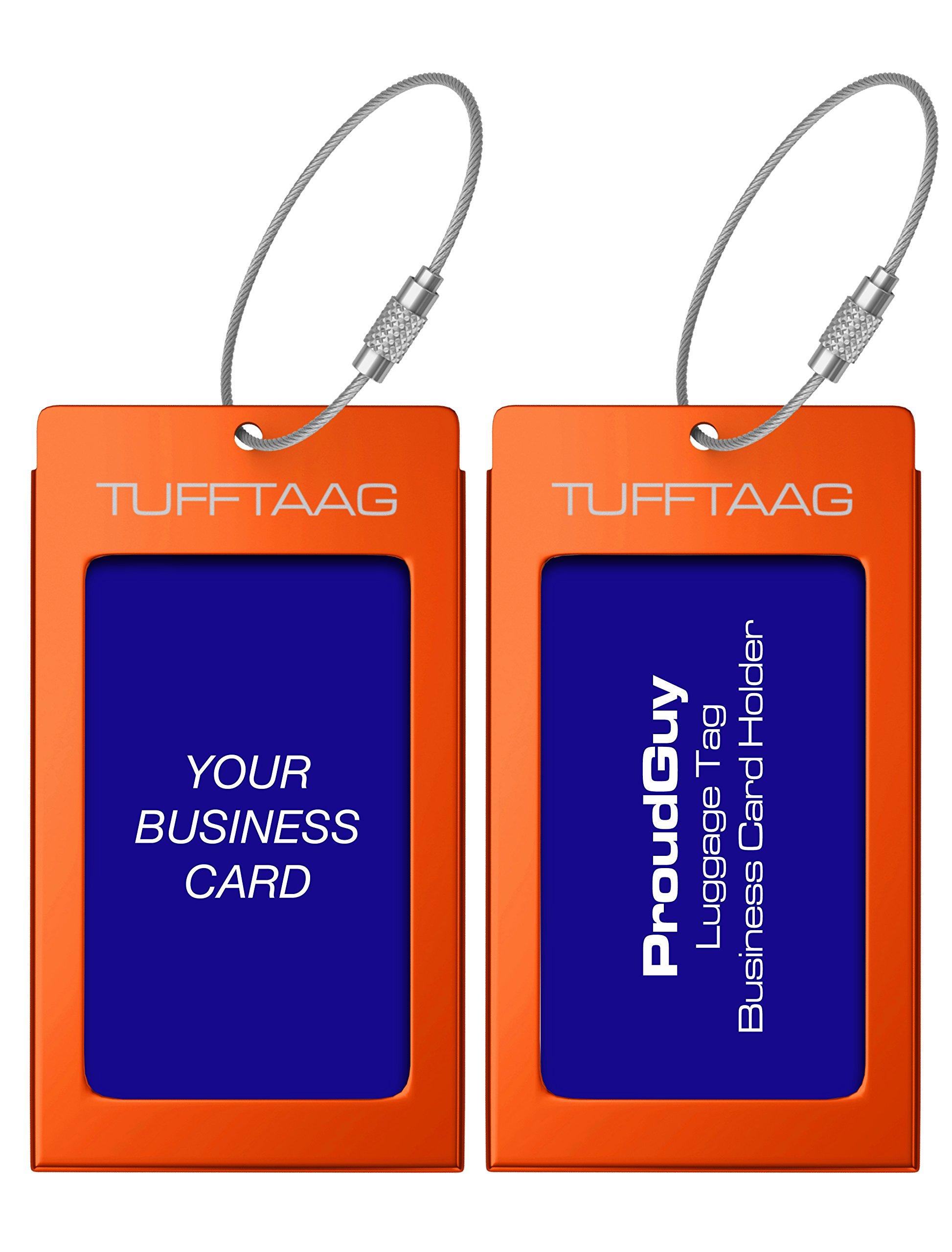 Luggage Tags Business Card Holder TUFFTAAG PAIR Travel ID Bag Tag ...