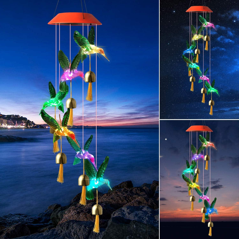 ShangTianFeng Solar LED Wind Chimes Hummingbird Fairy Night Light Wind Chime Mom Best Gift Outdoor Indoor Decor Party Decor Hummingbird Party Decor