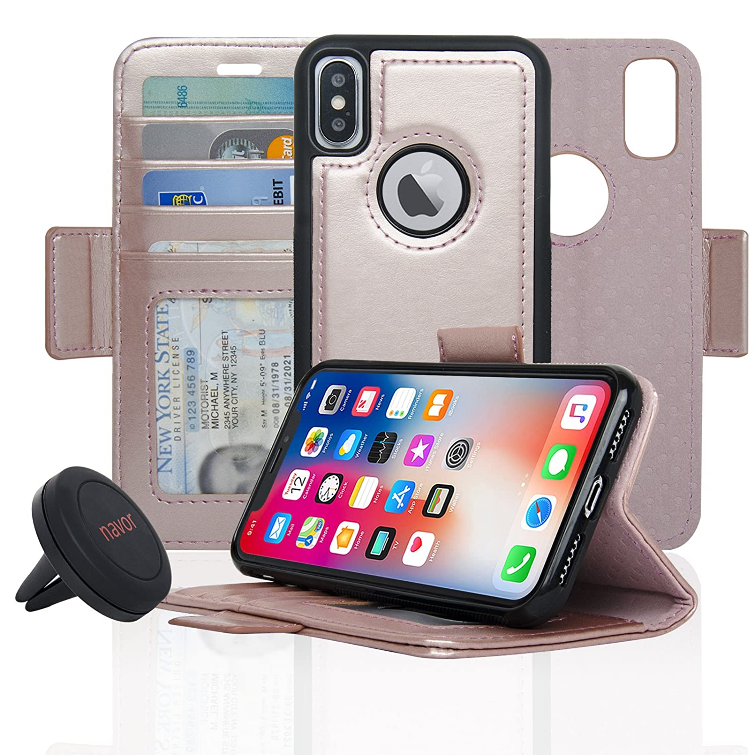 Vajio Series navor Detachable Magnetic Wallet Case and Universal Car Mount Compatible for iPhone 7 Plus -Purple RFID Protection