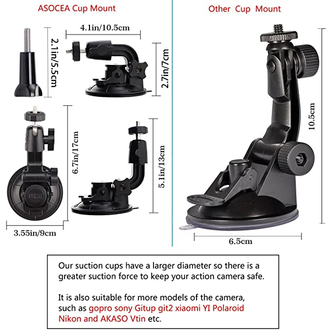 Amazon.com: asocea 360 grados Rotación Suction Cup Mount + ...