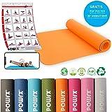 POWRX Deluxe Yogamatte inkl. Workout - rutschfest - TPE umweltfreundlich I Gymnastikmatte 173 x 61 x 0,5 cm I Trainingsmatte hautfreundlich versch. Farben