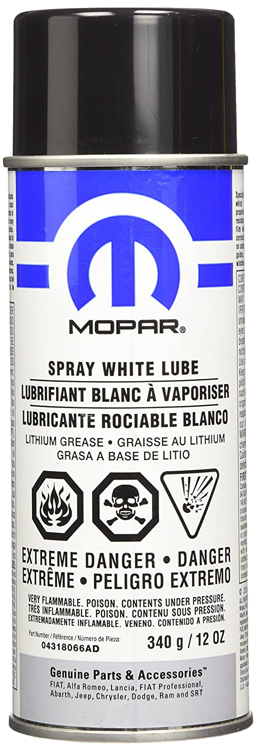 Genuine Chrysler Accessories 4318066AC White Lube Lithium Grease Spray - 12 oz. Aerosol Can